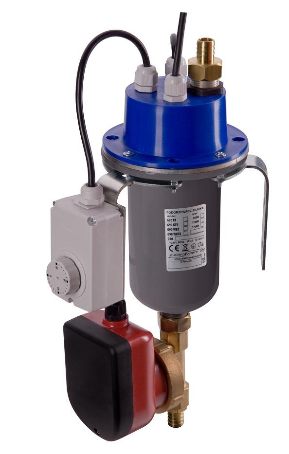 grawitacyjny podgrzewacz silnika z termostatem regulowanym i pompą