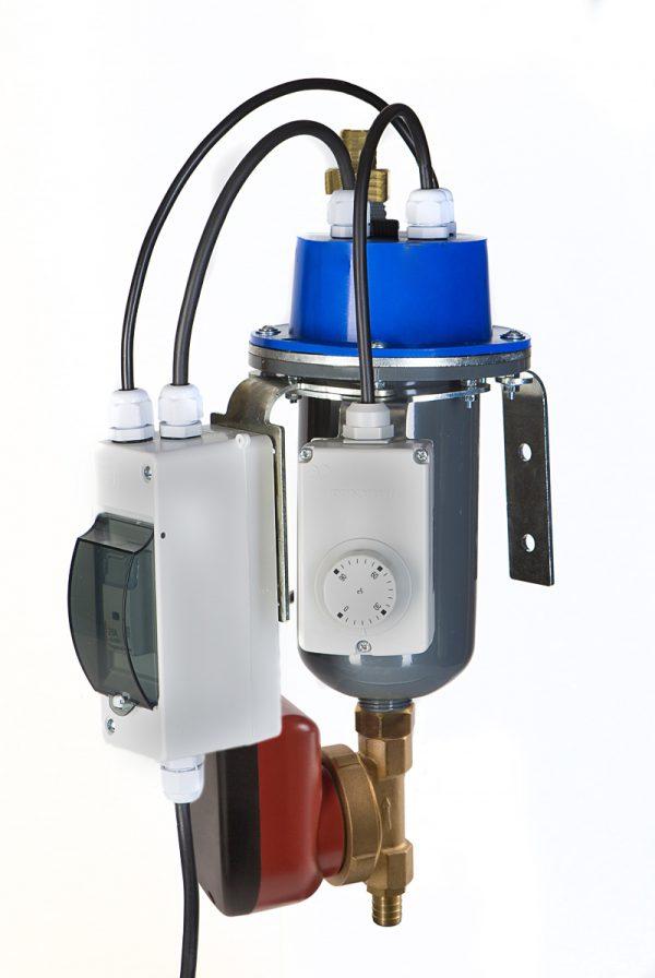 grawitacyjny podgrzewacz silnika z termostatem regulowanym, oraz pompą